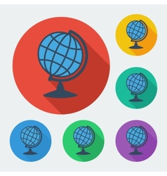 Flat style icon with long shadow six colors globe vector image vector image