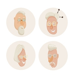 old people faces set cartoon characters vector image