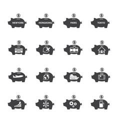 piggy bank icon set money saving vector image vector image