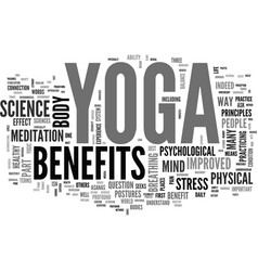 benefit of yoga part i text word cloud concept vector image vector image