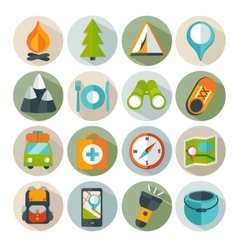 Hiking and outdoor icon set vector image
