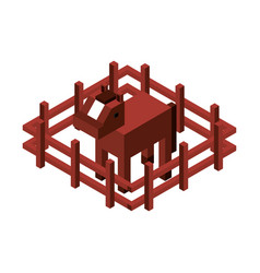 Horse with fence isometric isolated icon vector