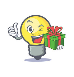 Light bulb character cartoon with gift vector