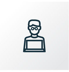 man with laptop outline symbol premium quality vector image
