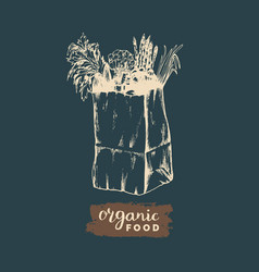 Organic vegetables poster logotype farm vector