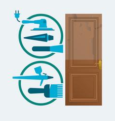 restore a wood door concept vector image vector image
