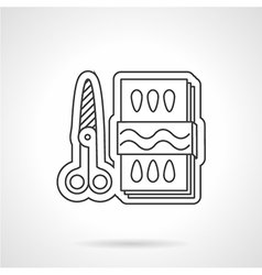 Scissors and paper flat line icon vector image