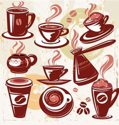 set of coffee symbols vector image vector image
