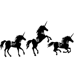 Set of Unicorns silhouettes vector image vector image