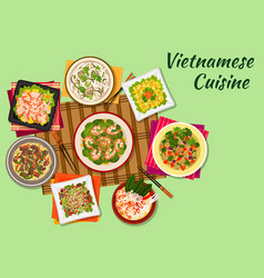 Vietnamese cuisine oriental dishes icon vector image