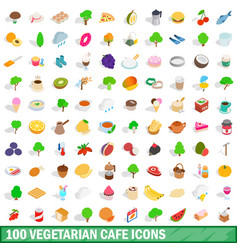 100 vegetarian cafe icons set isometric 3d style vector image