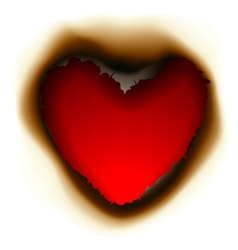 Burnt hole in shape of heart vector image