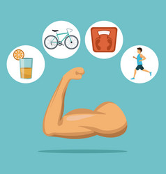 color background with muscle arm with icons in vector image vector image