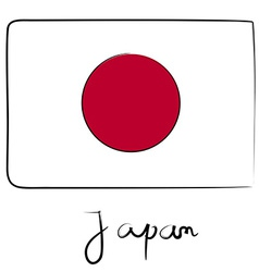 Japan flag doodle vector image vector image