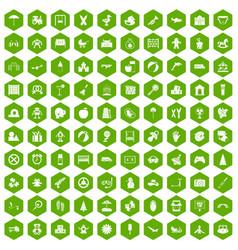 100 childhood icons hexagon green vector