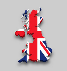 3d isometric map united kingdom with national vector image