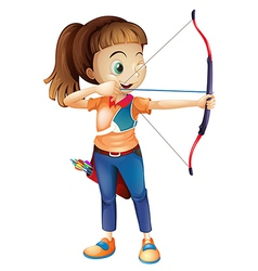 A young woman playing archery vector