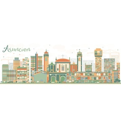 Abstract Asuncion Skyline with Color Buildings vector