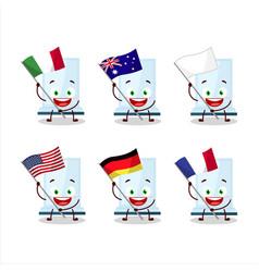 Aeropress cartoon character bring flags vector