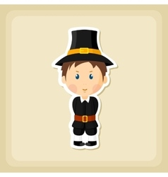 American Pilgrim children icon Thanksgiving day vector