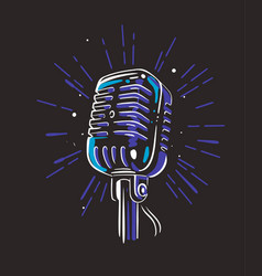 audio record mic on black background with ray vector image