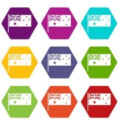australian flag icon set color hexahedron vector image
