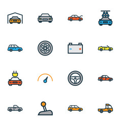 auto icons colored line set with cabriolet vector image