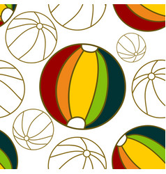 ball beach pattern seamless design template vector image