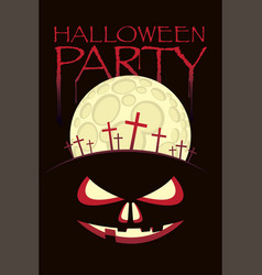 banner for halloween with horrid face and cemetery vector image