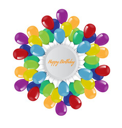 Birthday background with flying balloons border vector