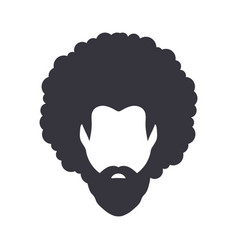 Black african american afro male face portrait vector