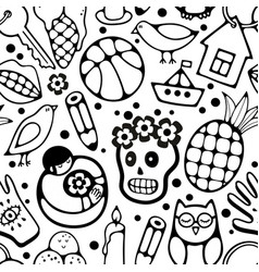 Black and white seamless pattern with characters vector