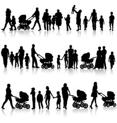 Black set of silhouettes of parents and children vector image