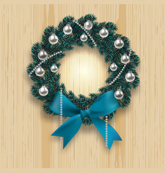 blue branch ate in the shape of a christmas wreath vector image
