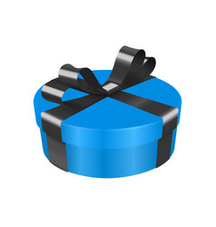 Blue gift box decorated with black ribbon round vector