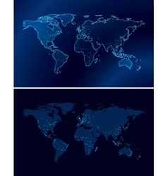 Blue maps of the world with light of the cities vector