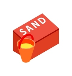 Box for sand to fire safety with bucket icon vector
