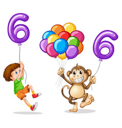 Boy and monkey with balloon number six vector