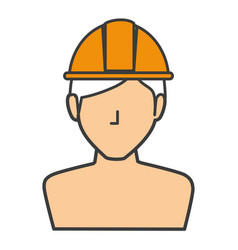 Builder shirtless avatar character icon vector