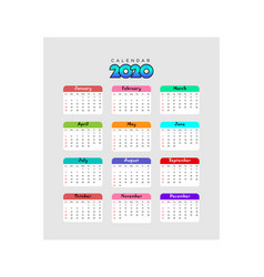 Calendar 2020 template 3 vector