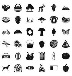 Camping in nature icons set simple style vector