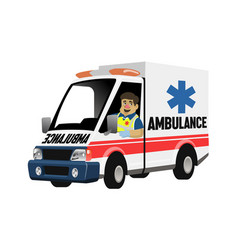 cartoon set paramedic driving ambulance vector image