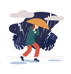 casual woman going on street under umbrella vector image