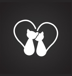 cats in love on black background vector image