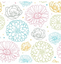 Chalk flowers colorful seamless pattern background vector