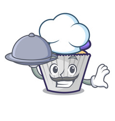 Chef with food blueberry cupcake mascot cartoon vector