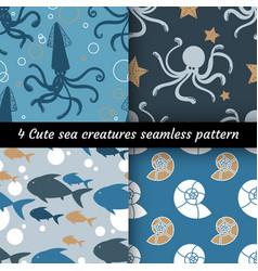 Collection 6 cute sea creatures seamless vector