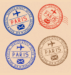 Collection of paris postal stamps partially faded vector