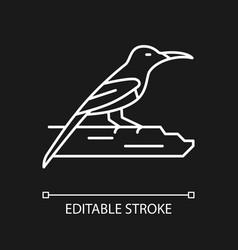 Crimson sunbird white linear icon for dark theme vector