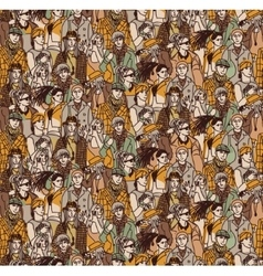 Crowd active young casual people seamless pattern vector image